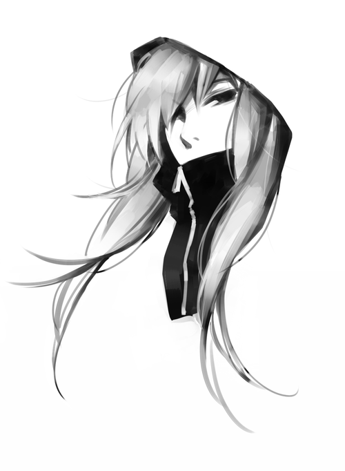 File Anime Girl Black And White Cute Hood Favim Com 885888